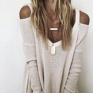 Free People Moonshine Cold Shoulder Sweater (S)
